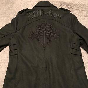 Men's Affliction Pea Coat 3XL XXXL Black